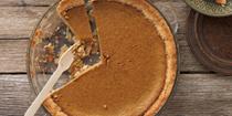 Healthy pumpkin pie with cream
