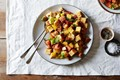 Heirloom tomato and cornbread panzanella