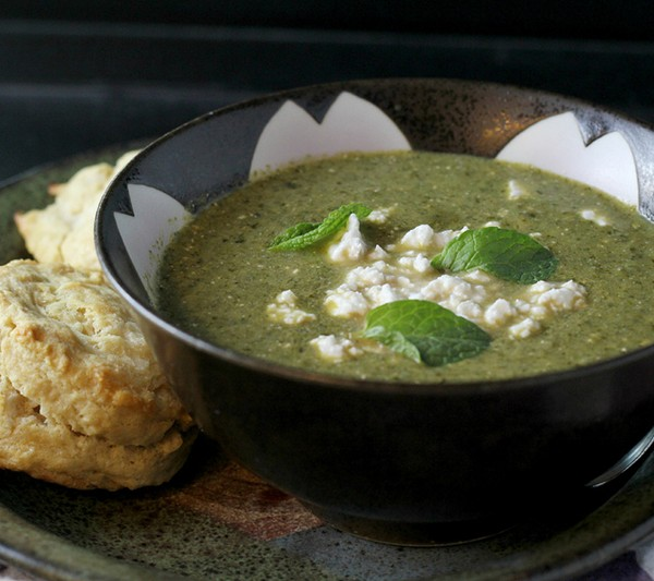Herb, chard, and feta soup from Eats Well with Others by Joanne Bruno