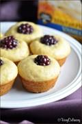 Honey blackberry mini pancake muffins
