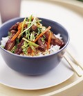 Honeyed duck and vegetable stir-fry