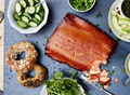 Hot-smoked salmon with tarragon crème fraîche
