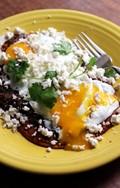 Huevos rancheros with salsa roja