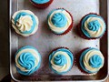 Ice cream filled July 4th cupcakes
