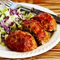Individual-serving meatloaf balls with Italian sausage, ground beef, and peppers
