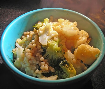 Israeli couscous with broccoli & cauliflower