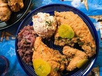 Jacques-Imo's fried chicken and smothered cabbage