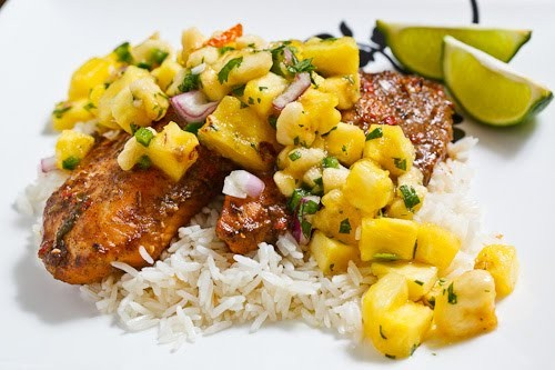 Jamaican jerk burgers with pineapple and banana salsa