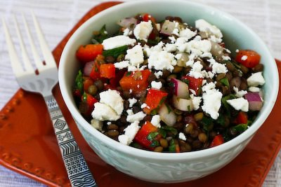 Joanne Weir's green lentil and red pepper salad with red onion, mint ...