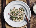 Kale & pomegranate pasta with pistachio pesto