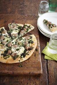 Kale, sausage and Taleggio pizza