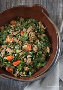 Kenyan braised collard greens and ground beef (Sukuma wiki)