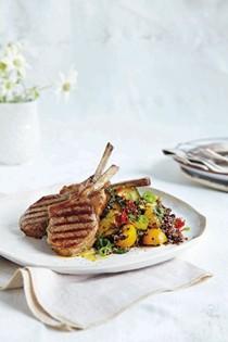 Lamb cutlets with zucchini and black quinoa salad