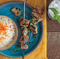 Lamb kebabs in pomegranate-walnut marinade (Kebabe-e torsh)