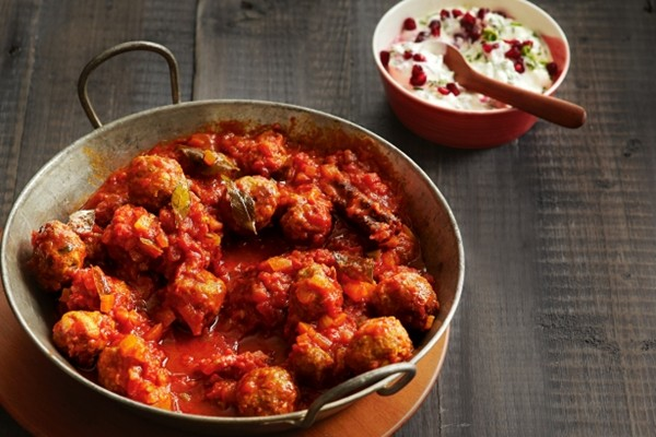 Lamb meatball curry with pomegranate raita (page 79)