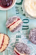 Lamington biscuits with raspberry jam & 'cream'
