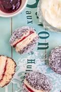 Lamington biscuits with raspberry jam & 'cream'
