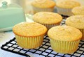Lemon cardamom cornmeal muffins with candied ginger