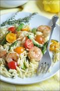 Lemon-mustard orzo salad with shrimp and asparagus