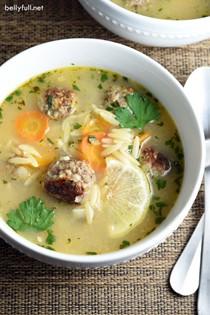 Lemon orzo meatball soup