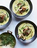 Lemony roasted asparagus soup