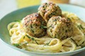 Linguine al limone with grilled chia-chicken meatballs