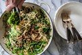 Linguine with arugula and olive-pecan frico crumble