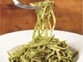 Linguine with cilantro and chive pesto