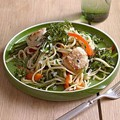 Linguine with scallops, red pepper and broccolini