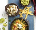 Los gatos ceviche, lime-tortilla soup, and guacamole with handmade chips