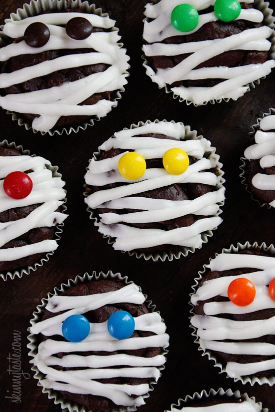 Low-fat chocolate mummy cupcakes from Skinnytaste by Gina Homolka