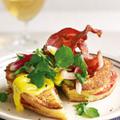 Mackerel eggy bread with bacon, watercress, radishes and saffron aioli