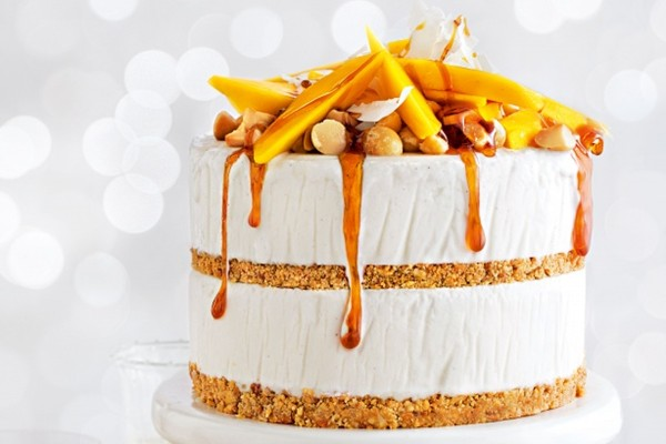 Mango coconut amp macadamia ice cream layer cake with chilled lime