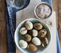 Marbled quail eggs with smoked salt