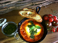 Marinara baked eggs with salsa verde