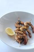 Marinated BBQ prawns (shrimp) with tahini sauce