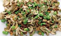 Marinated mushrooms with walnut and tahini yogurt