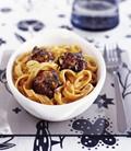 Meatballs with tomato pesto tagliatelle