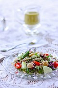 Mediterranean salad with lemon oregano vinaigrette