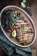 Mexican steak with black rice salad