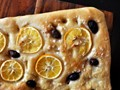 Meyer lemon and olive focaccia