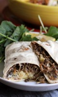 Middle Eastern lentil, rice, and caramelized onion burritos