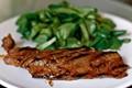 Miso glazed flank steak