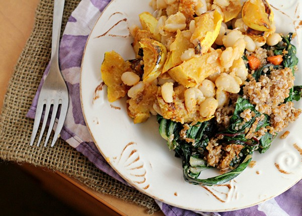 Miso harissa delicata squash and white bean salad with Swiss chard ...