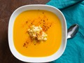 Miso-squash soup with sesame-ginger apples