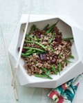 Mixed grains with green beans and crispy bacon