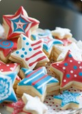 M&Ms inside-patriotic star cookies