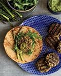 Mushroom kufteh with green harissa and asparagus pesto