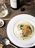 Mushroom ravioli with creamy parsley/garlic sauce and Parmesan crisp (by Veronica Zahra, Executive Chef – Jacob's Creek Heritage Vineyard)