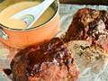 Mushroom-stuffed hamburger meatloaf with beer-cheese sauce